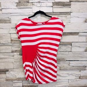 NEW YORK & COMPANY/ RUCHED STRIPED TOP